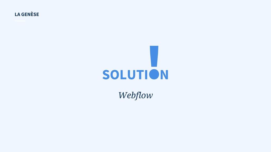 ! Webflow SOLUTI N LA GENÈSE