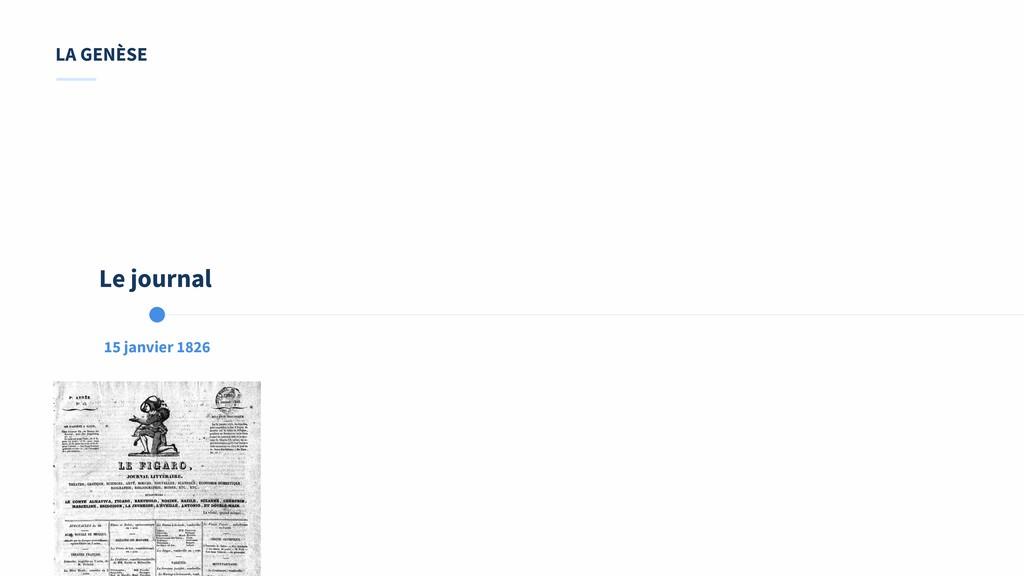 15 janvier 1826 Le journal LA GENÈSE