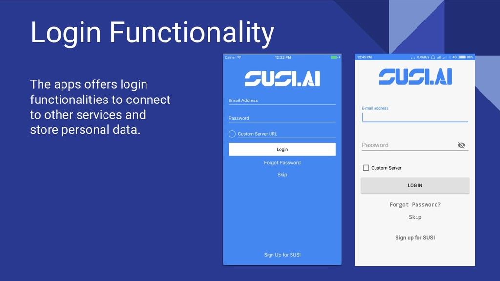 Login Functionality The apps offers login funct...