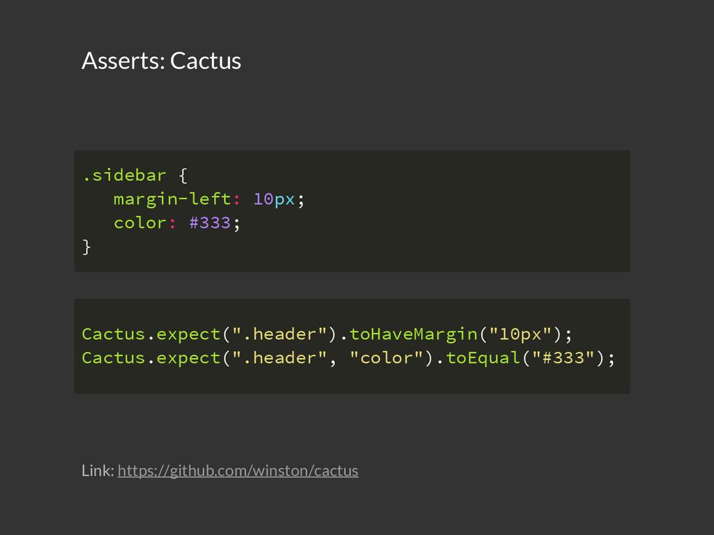 Asserts: Cactus .sidebar { margin-left: 10px; c...