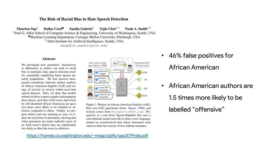 • 46% false positives for African American • Af...