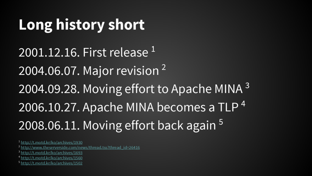 Long history short 2001.12.16. First release 1 ...