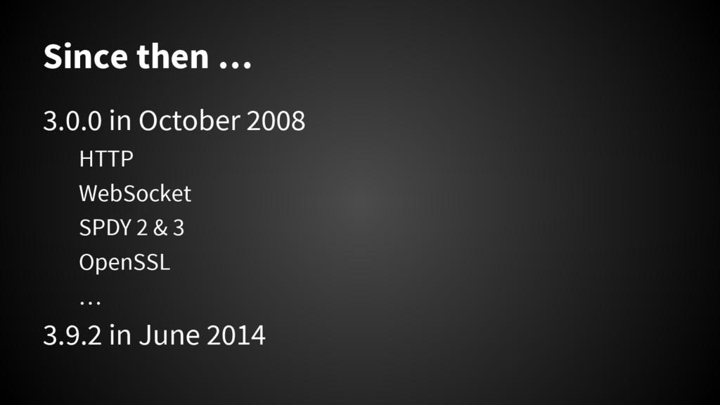 Since then … 3.0.0 in October 2008 HTTP WebSock...