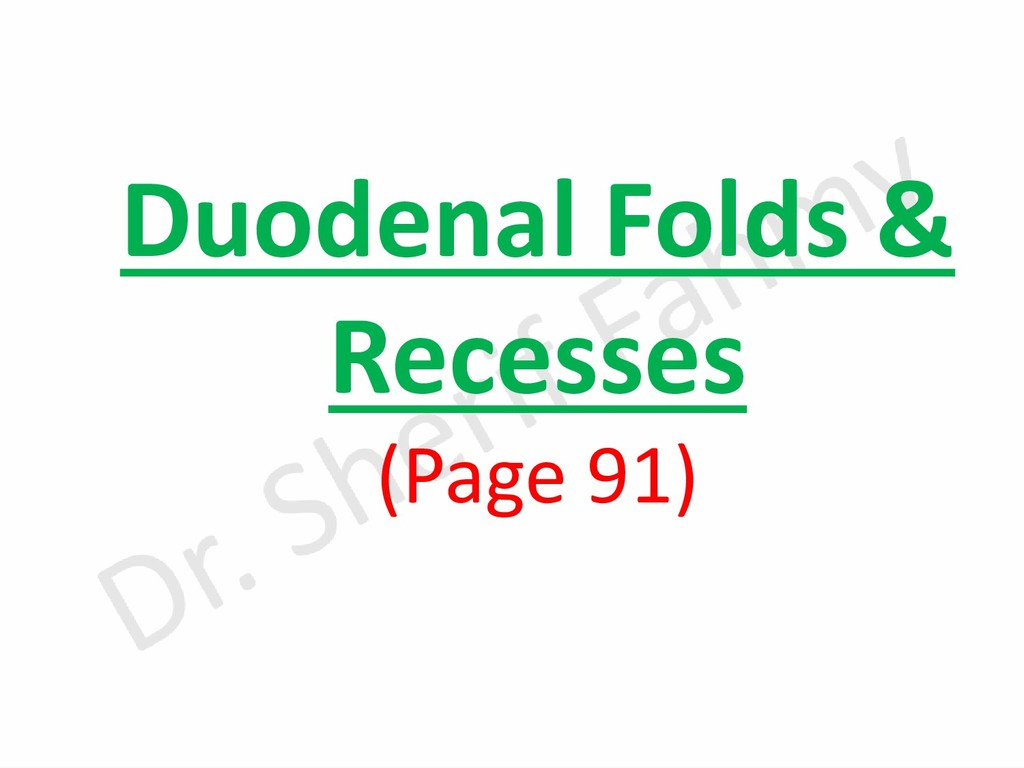 Duodenal Folds & Recesses (Page 91)