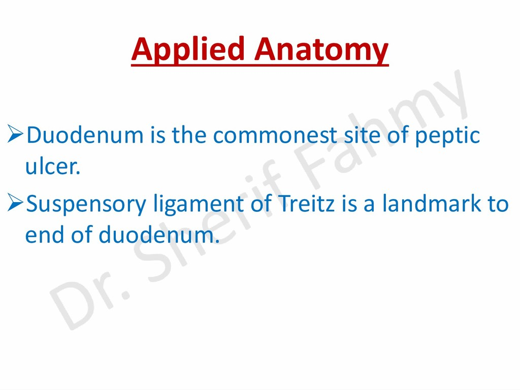 Applied Anatomy ➢Duodenum is the commonest site...