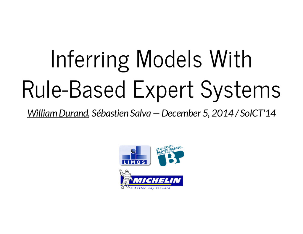 Inferring Models With Rule-Based Expert Systems...