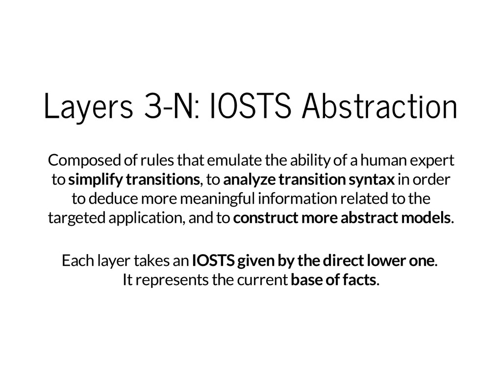 Layers 3-N: IOSTS Abstraction Composed of rules...