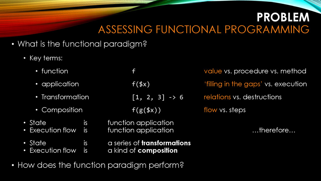 PROBLEM ASSESSING FUNCTIONAL PROGRAMMING • What...