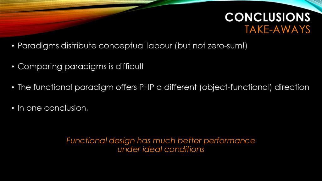 CONCLUSIONS TAKE-AWAYS • Paradigms distribute c...