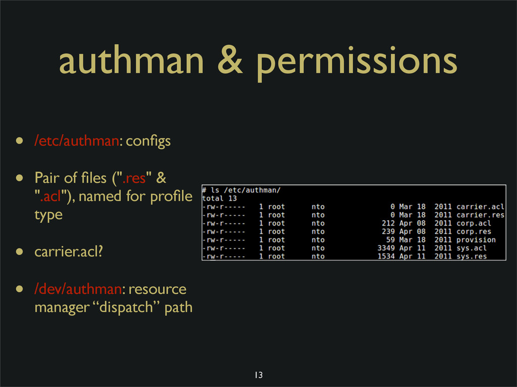 authman & permissions • /etc/authman: configs • ...