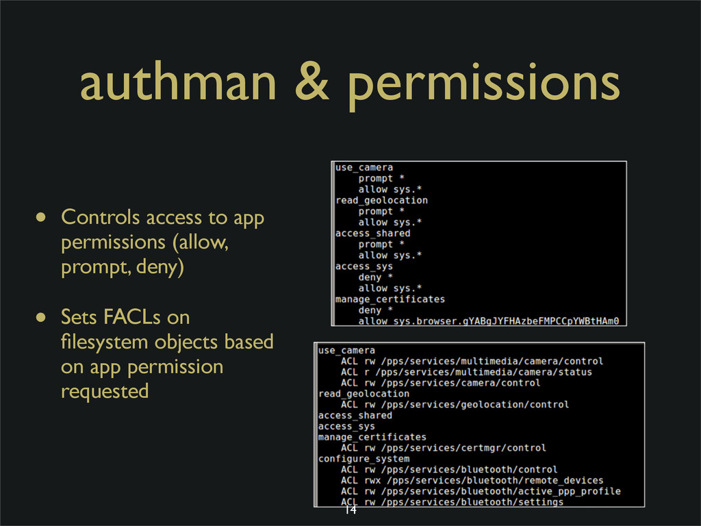 authman & permissions • Controls access to app ...