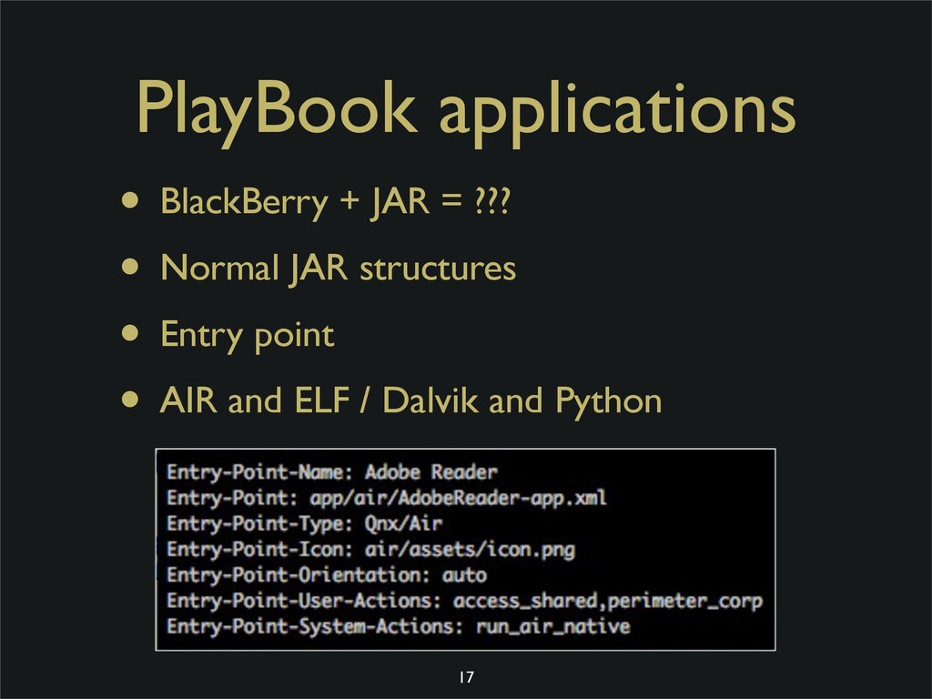 PlayBook applications • BlackBerry + JAR = ??? ...
