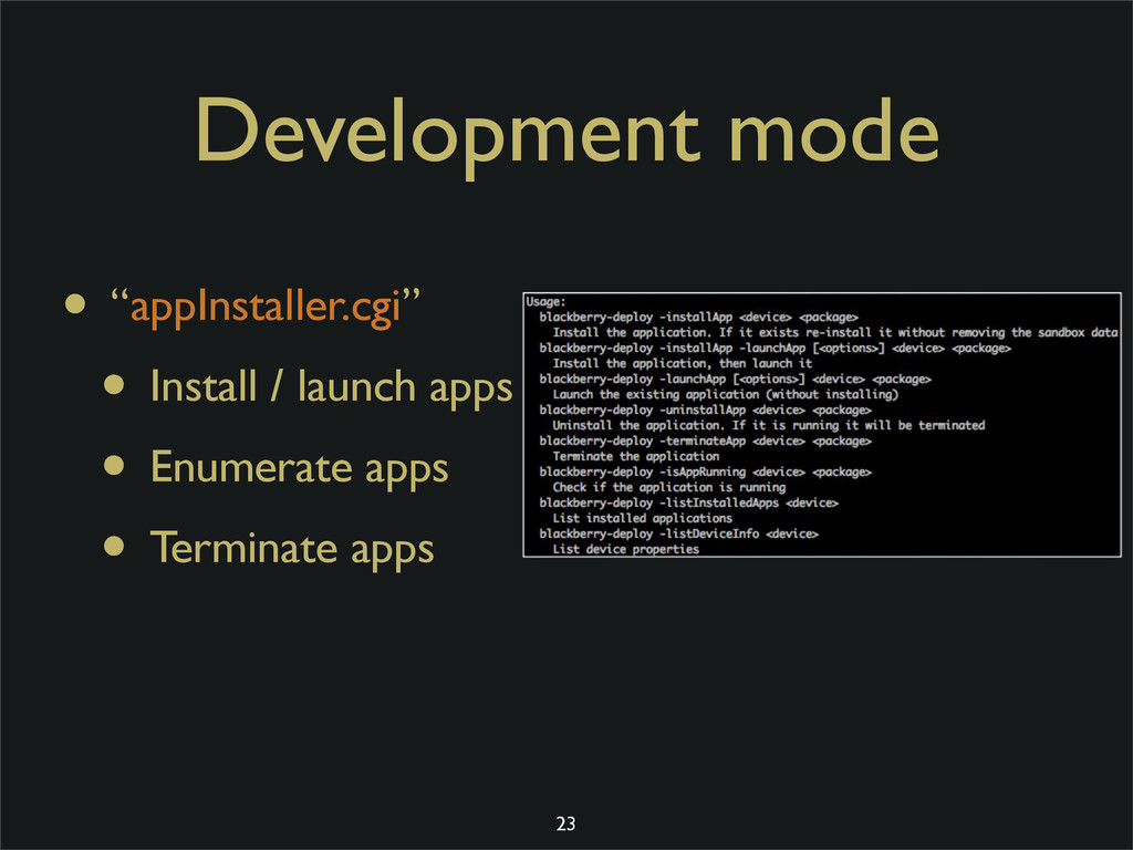 "Development mode • ""appInstaller.cgi"" • Install..."
