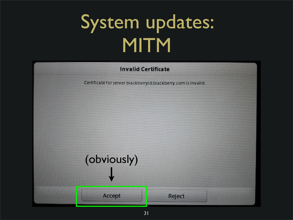 System updates: MITM 31 (obviously)