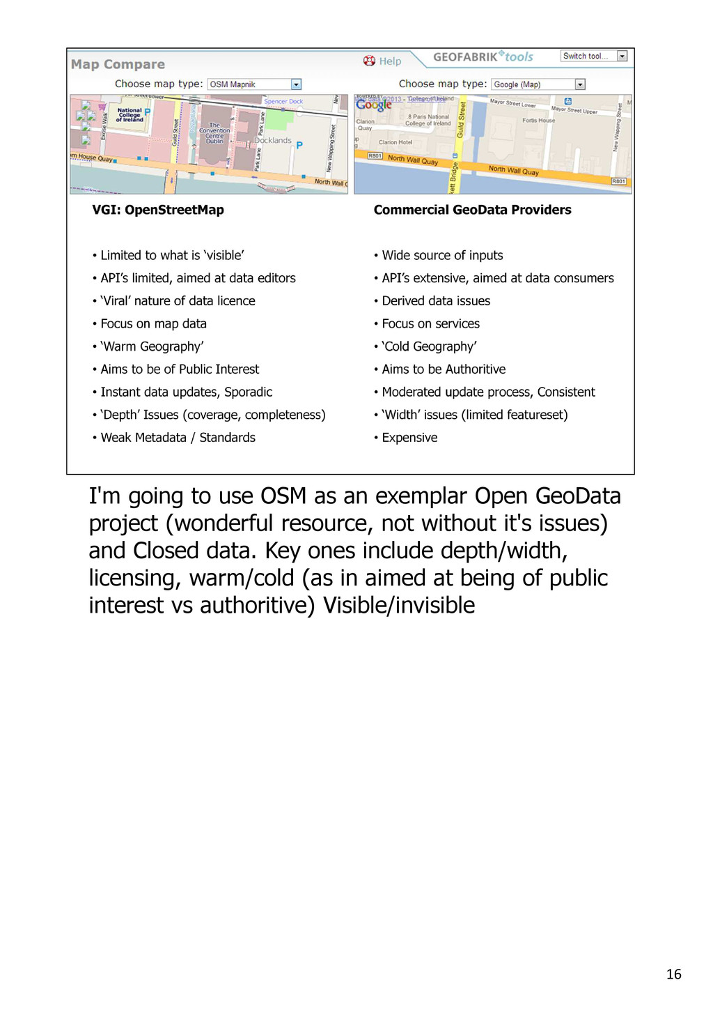 16 I'm going to use OSM as an exemplar Open Geo...