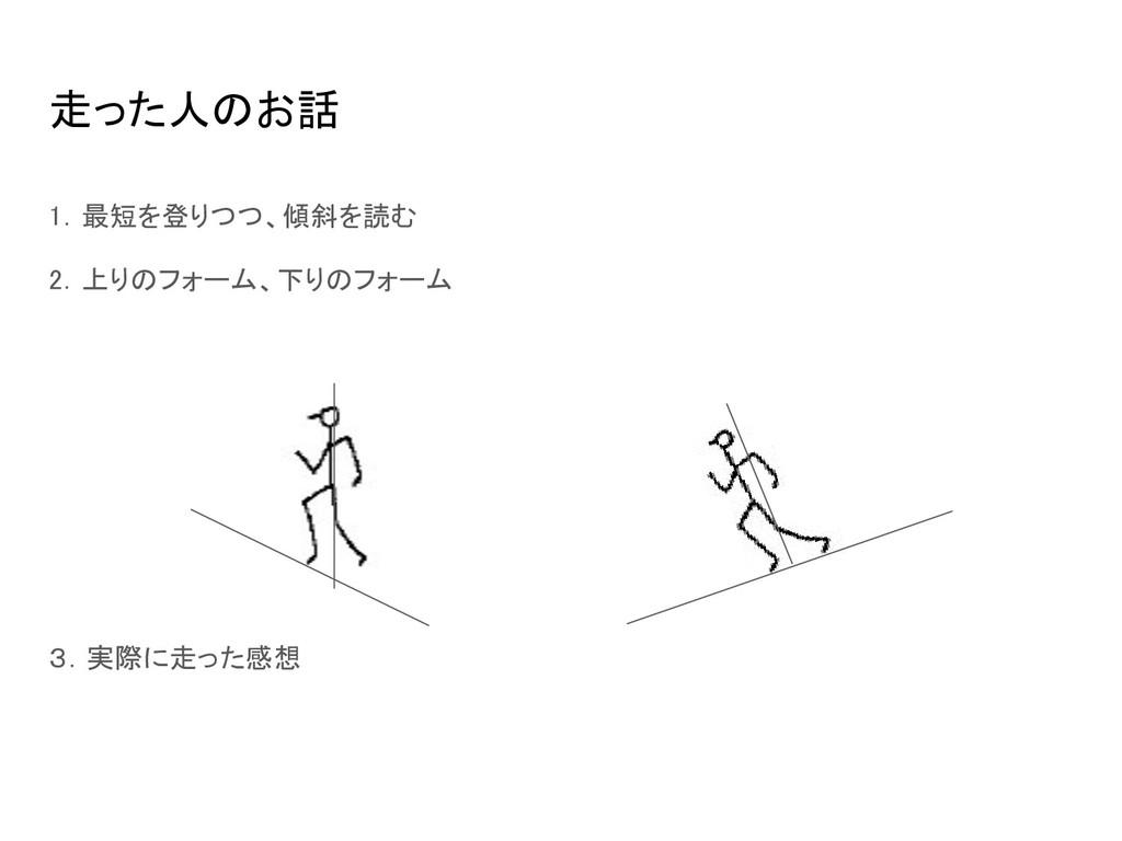 走った人のお話 1.最短を登りつつ、傾斜を読む 2.上りのフォーム、下りのフォーム  3...