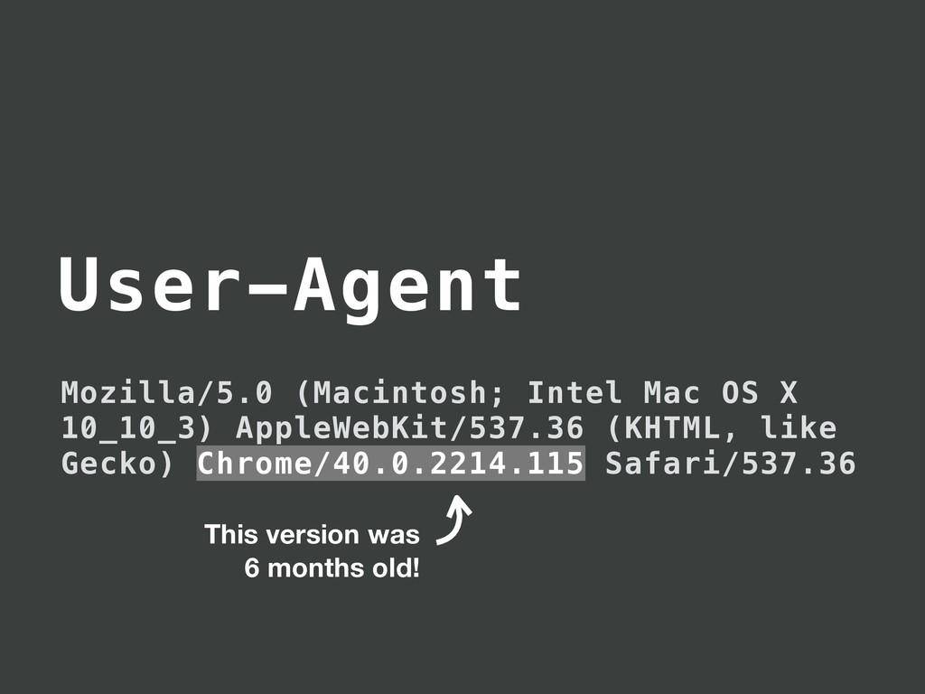 User-Agent Mozilla/5.0 (Macintosh; Intel Mac OS...