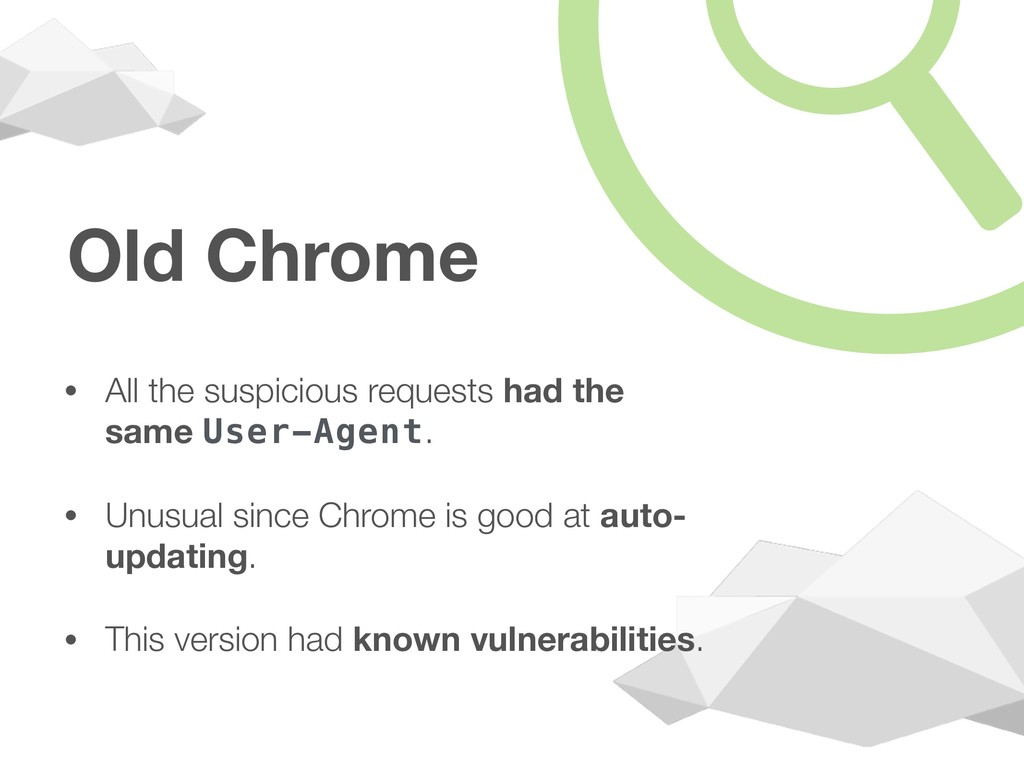 Old Chrome • All the suspicious requests had th...