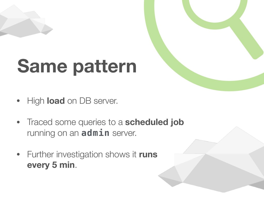 Same pattern • High load on DB server. • Traced...