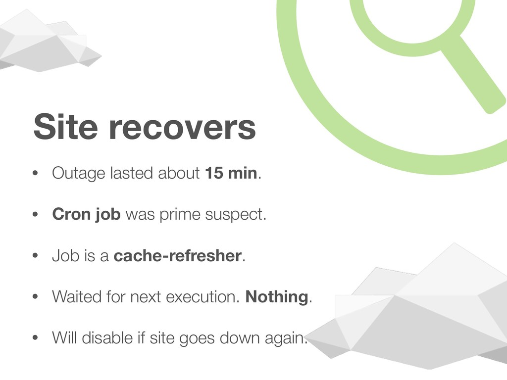 Site recovers • Outage lasted about 15 min. • C...