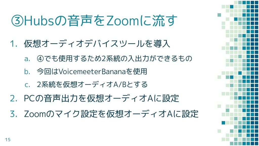 ③Hubsの音声をZoomに流す 1. 仮想オーディオデバイスツールを導入 a. ④でも使用す...