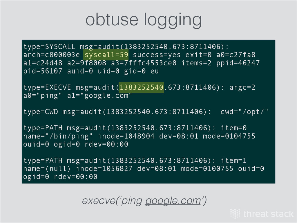 type=SYSCALL msg=audit(1383252540.673:8711406):...