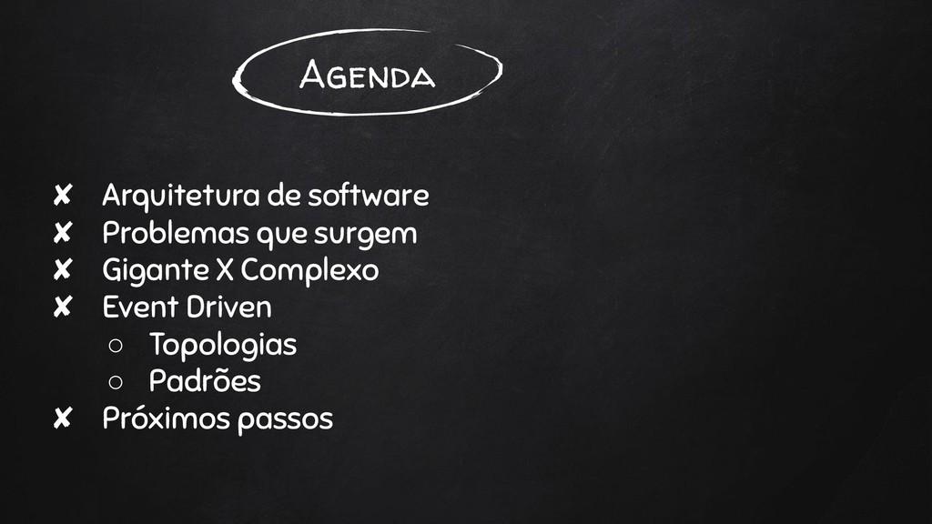 Agenda ✘ Arquitetura de software ✘ Problemas qu...