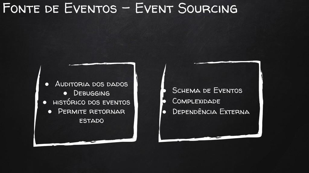 ● Schema de Eventos ● Complexidade ● Dependênci...