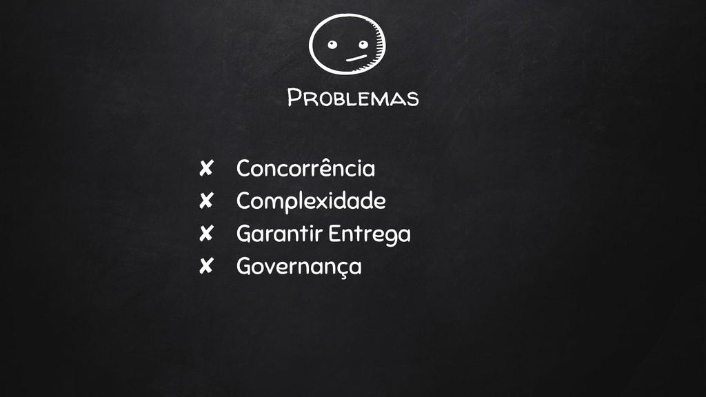 Problemas ✘ Concorrência ✘ Complexidade ✘ Garan...