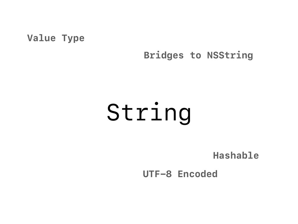 String Value Type UTF-8 Encoded Hashable Bridge...