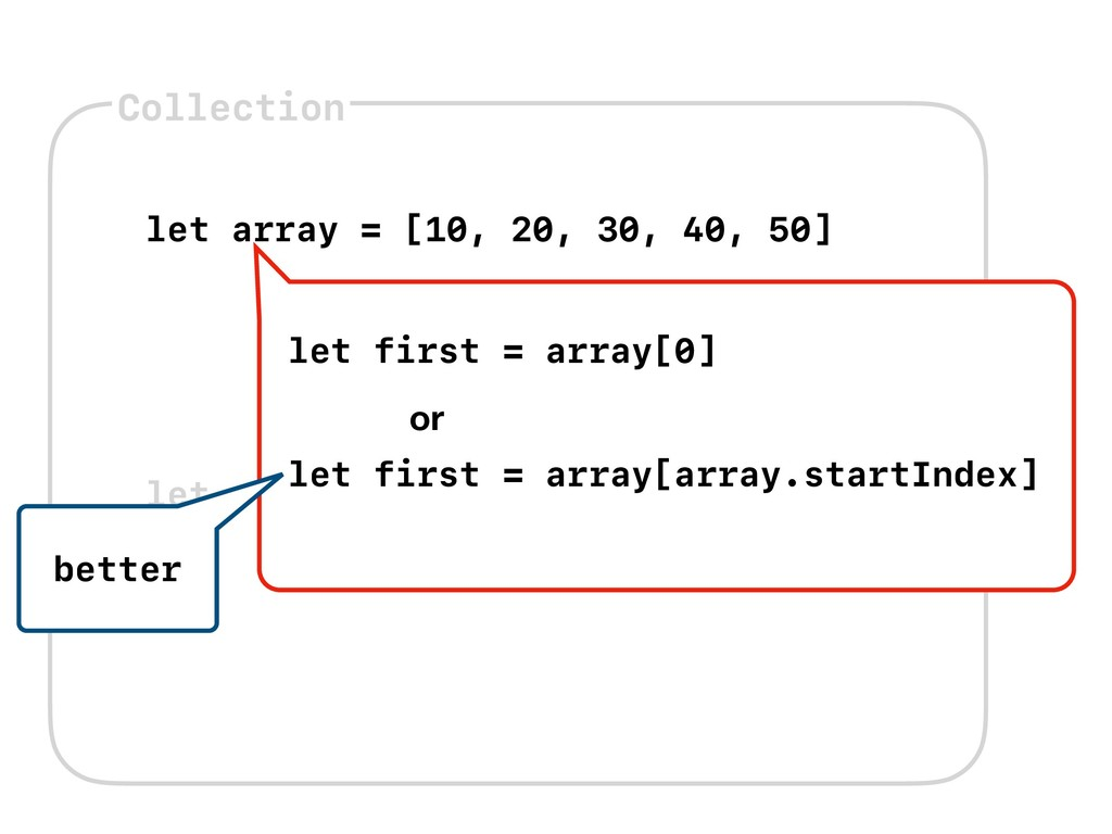 Collection let array = [10, 20, 30, 40, 50] let...