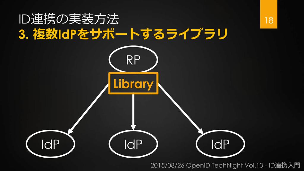 ID連携の実装方法 3. 複数IdPをサポートするライブラリ 18 RP IdP IdP Id...
