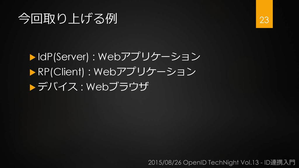 今回取り上げる例  IdP(Server) : Webアプリケーション  RP(Clien...