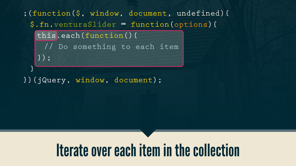 Iterate over each item in the collection ;(func...