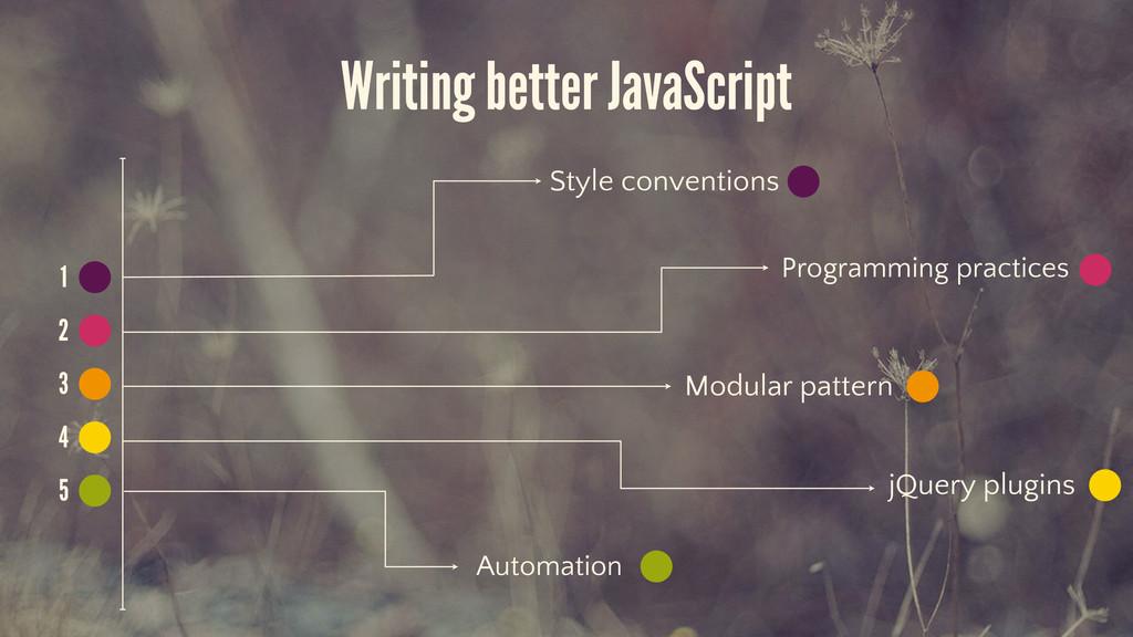 Writing better JavaScript 1 2 3 4 5 Style conve...