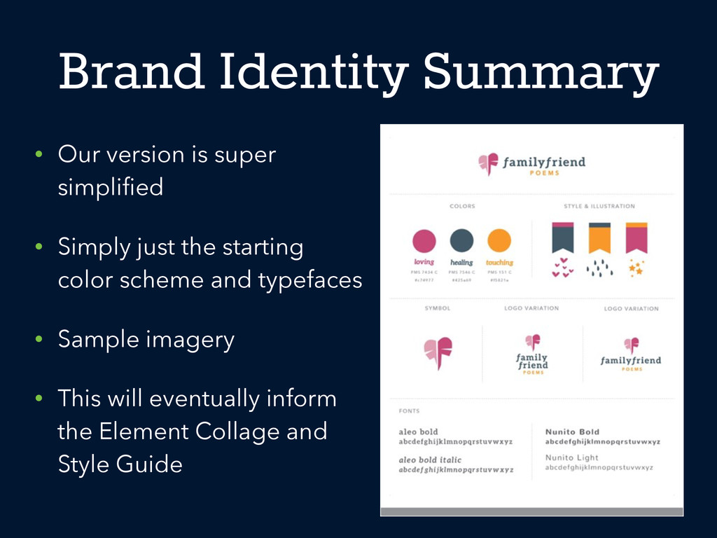Brand Identity Summary • Our version is super s...