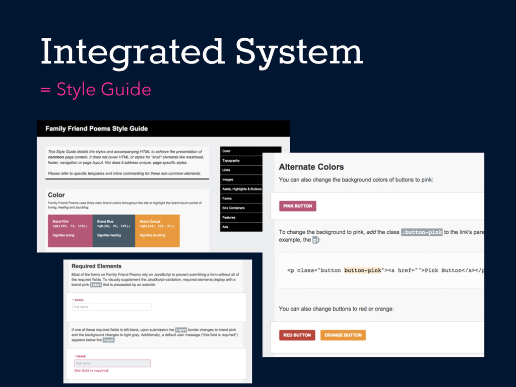Integrated System = Style Guide