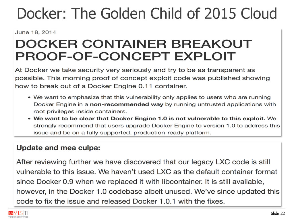 Slide 22 Docker: The Golden Child of 2015 Cloud