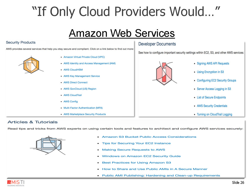 "Slide 26 ""If Only Cloud Providers Would…"" Amazo..."
