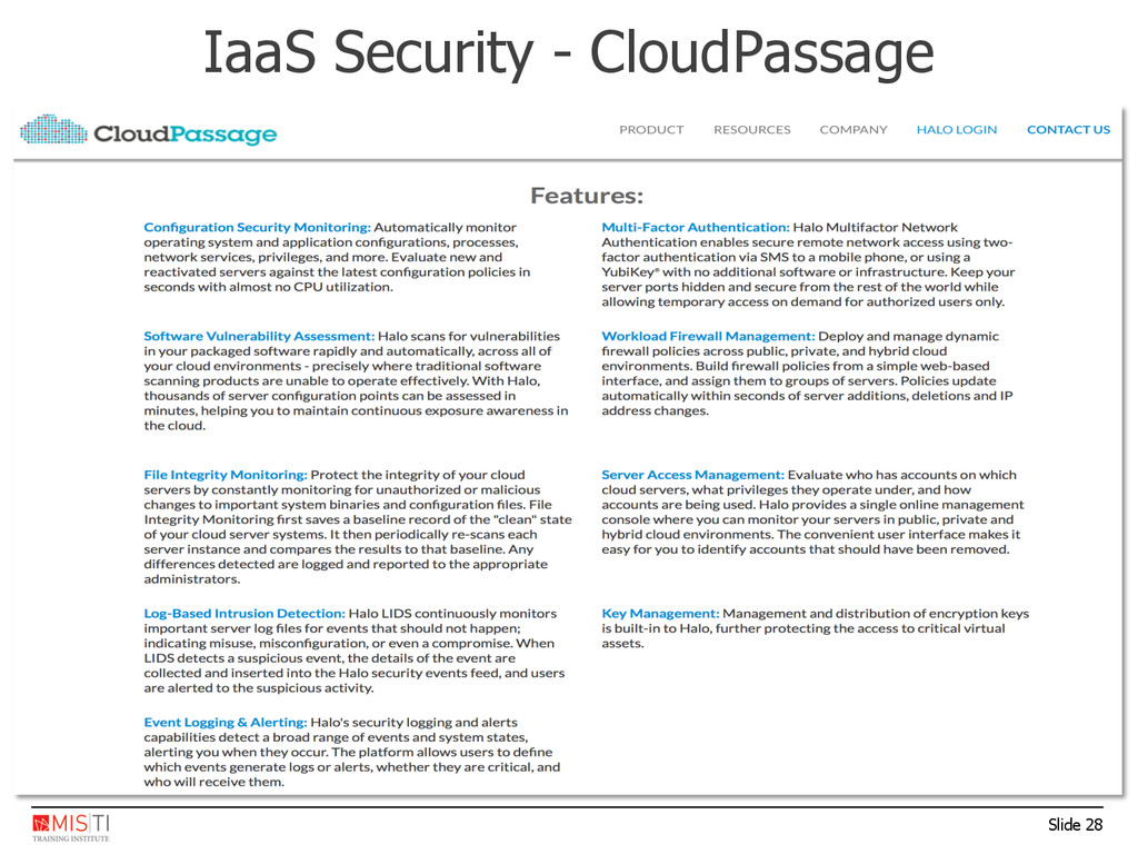 Slide 28 IaaS Security - CloudPassage
