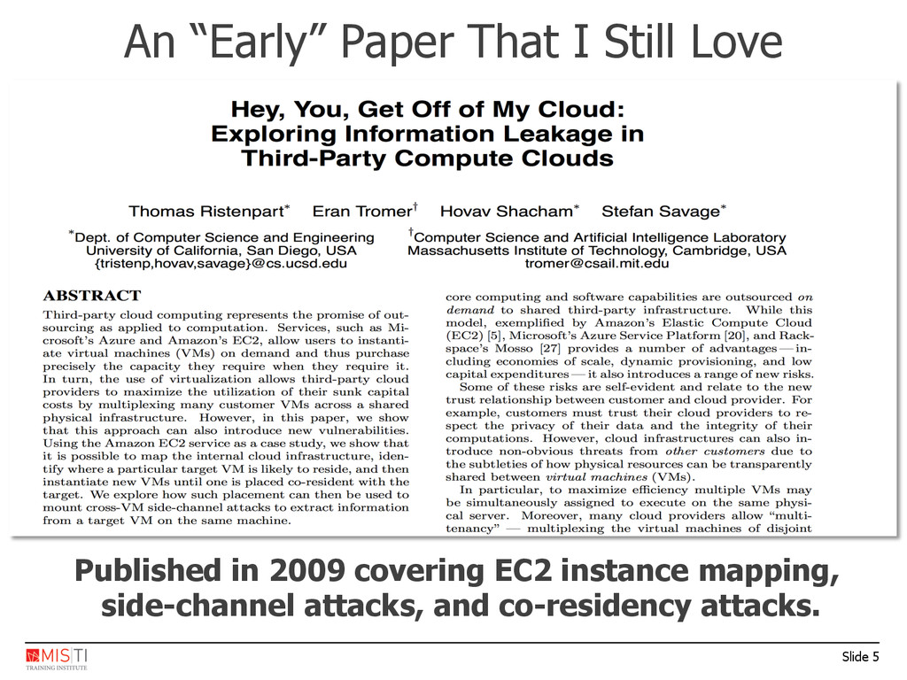 Slide 5 Published in 2009 covering EC2 instance...