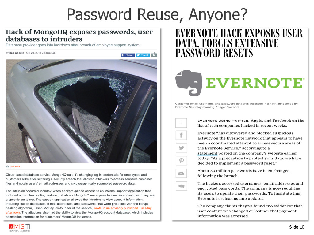 Slide 10 Password Reuse, Anyone?