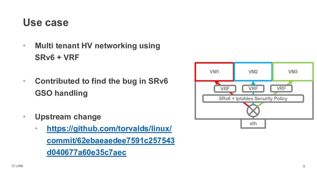 Use case • Multi tenant HV networking using SRv...