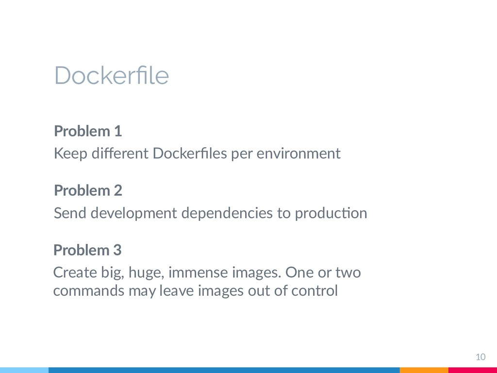 Dockerfile Problem 1 Keep different Dockerfiles...