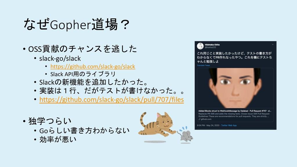なぜGopher道場? • OSS貢献のチャンスを逃した • slack-go/slack •...