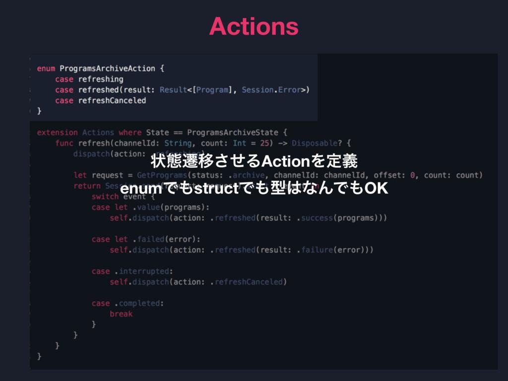 Actions ঢ়ଶભҠͤ͞ΔActionΛఆٛ enumͰstructͰܕͳΜͰOK