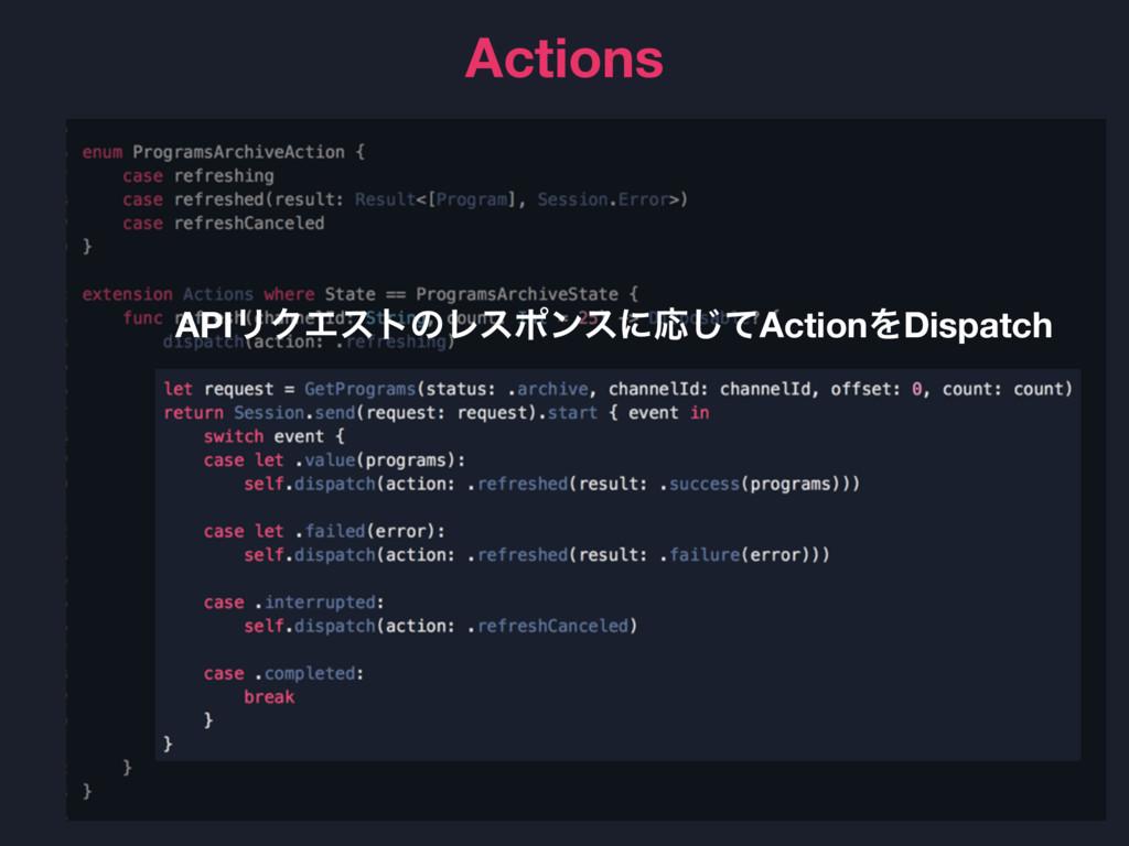 Actions APIϦΫΤετͷϨεϙϯεʹԠͯ͡ActionΛDispatch