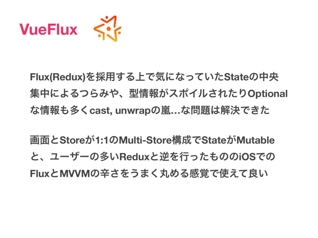VueFlux Flux(Redux)Λ࠾༻͢Δ্Ͱؾʹͳ͍ͬͯͨStateͷதԝ ूதʹΑΔ...