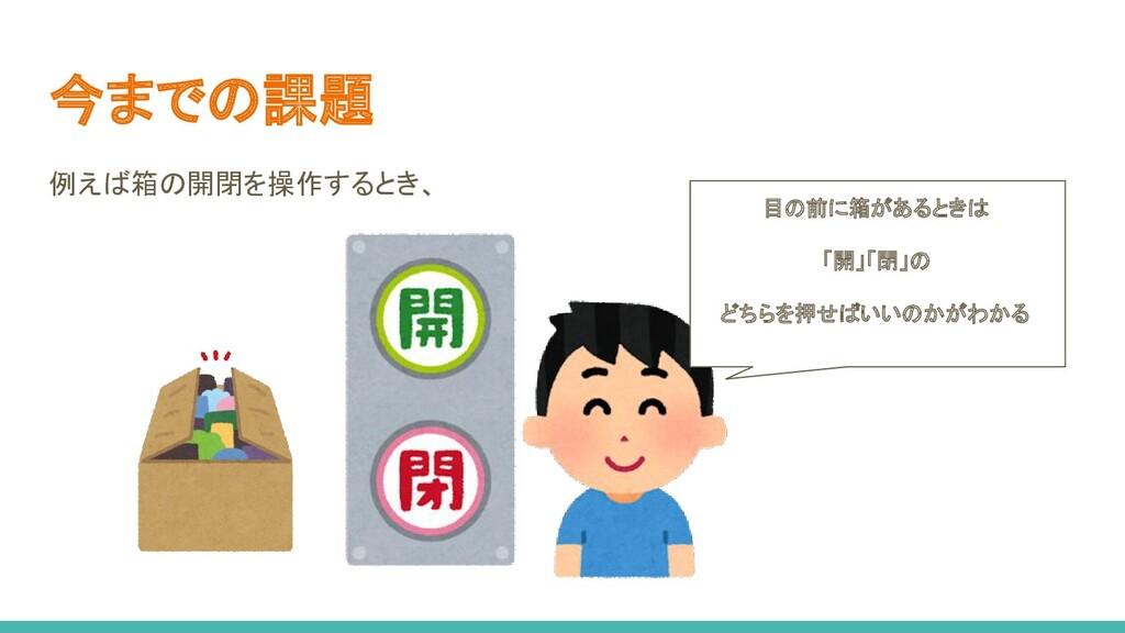 今までの課題 例えば箱の開閉を操作するとき、 目の前に箱があるときは 「開」「閉」の どちらを...