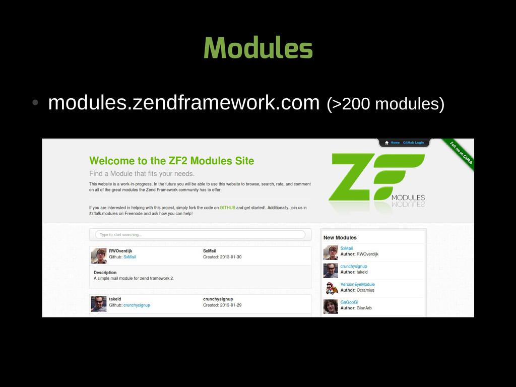 Modules ● modules.zendframework.com (>200 modul...